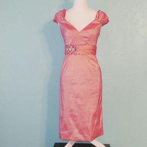 Badgley Mischka Pink Embellished Sash Dress